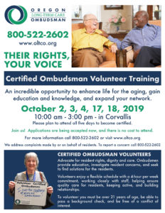 ADVOCATE! Training to become a volunteer Certified Ombudsman @ Corvallis