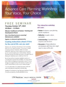 Advance Care Planning Workshop @ Mission Healthcare at Renton