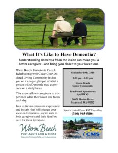 What It's Like to Have Dementia @ Warm Beach Post Acute Carr & Rehab