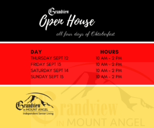 Grandview Open House Sept 12-15th @ Grandview in Mt. Angel
