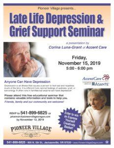 Late Life Depression & Grief Support Seminar @ Pioneer Village