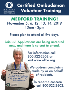 TRAINING: Certified Ombudsman Volunteer @ Medford