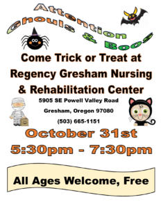 Community Trick or Treating, All Ages, Free @ Regency Gresham Nursing and Rehabilitation Center