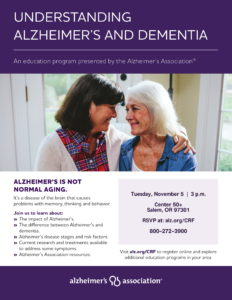 Understanding Alzheimer's and Dementia @ Center 50+