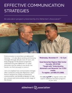 Understanding Alzheimer's and Dementia + Effective Communication Strategies @ Good Samaritan Regional Medical Center