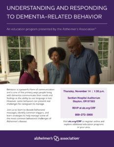 Understanding and Responding to Dementia Related Behavior @ Santiam Hospital Auditorium