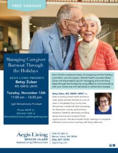 Managing Caregiver Burnout Through The Holidays @ Aegis Mercer Island