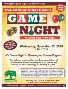 Thankful for Family & Friends Game Night @ Farmington Square Eugene