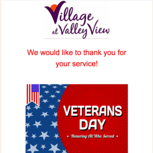 Celebrate Veterans Day at Village at Valley View @ Village at Valley View