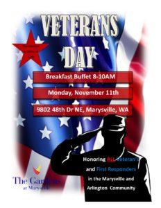 Veterans Breakfast @ The Gardens at Marysville