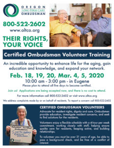 TRAINING: Advocate for resident's in long-term care @ Eugene, OR