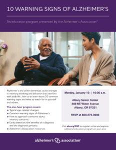 10 Warning Signs of Alzheimer's @ Albany Senior Center