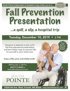Fall Prevention Presentation: ...a spill, a slip, a hospital trip @ South Pointe Independent & Assisted Living