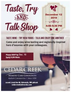 Taste, Try and Talk Shop @ Cedar Creek Memory Care Community