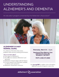 CANCELLED - Understanding Alzheimer's and Dementia @ Heartwood Place