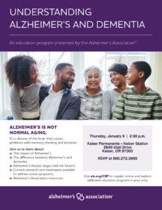 Understanding Alzheimer's and Dementia @ Kaiser Permanente Keizer Station