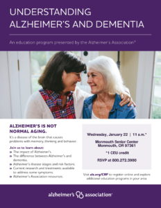 Understanding Alzheimer's and Dementia @ Monmouth Senior Center