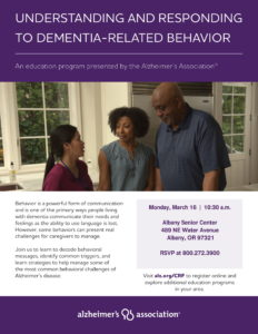 CANCELLED - Understanding and Responding to Dementia Related Behavior @ Albany Senior Center