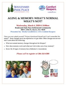 Aging & Memory: What's Normal, What's Not? @ Boulevard Park Place Retirement Community