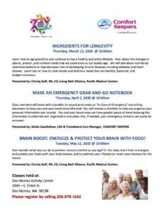 Ingredients for Longevity @ Des Moines Activity Center