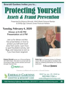 Protecting Yourself: Assets & Fraud Prevention @ Emerald Gardens Assisted & Memory Care
