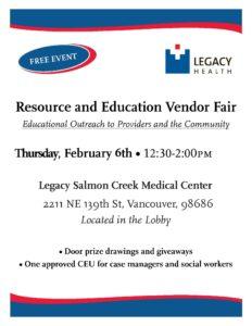 Legacy Salmon Creek Medical Center Resource Fair @ Legacy Salmon Creek Medical Center