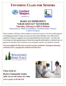 """Make an Emergency """"Grab and Go"""" Notebook @ Burien Community Center"""