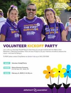 Volunteer Kick-Off - Walk to End Alzheimer's - Mid-Willamette Valley @ Deluxe Brewing Company