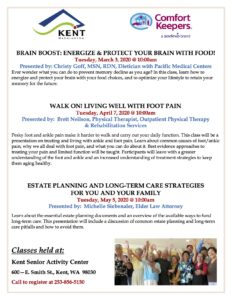 Brain Boost: Energize & Protect Your Brain with Food! @ Kent Senior Activity Center