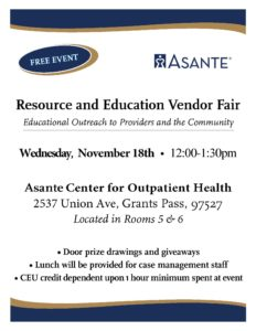 Asante Three Rivers Resource Fair @ Asante Center for Outpatient Health (ACOH)
