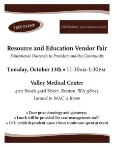 (CANCELLED) Valley Medical Center Resource Fair @ Valley Medical Center