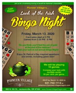 CANCELLED - Luck of the Irish Bingo Night @ Pioneer Village