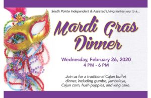 Mardi Gras Dinner @ South Pointe Independent & Assisted Living