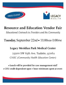 Legacy Meridian Park Resource Fair @ Legacy Meridian Park Medical Center