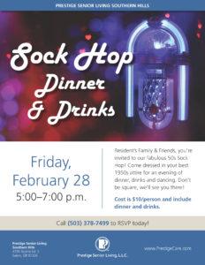 Sock Hop 1950's style Dinner and Drinks @ Prestige Senior Living Southern Hills