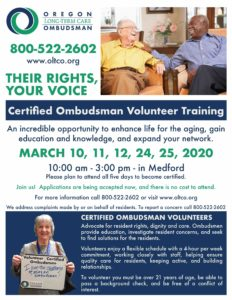 TRAINING: Become a Certified Ombudsman Volunteer @ Medford