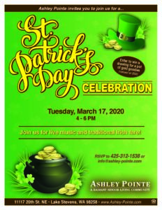 CANCELLED - St. Patrick's Day Celebration! @ Ashley Pointe Assisted Living