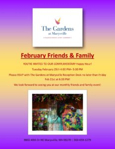 Mardi Gras Friends and Family Happy Hour! @ The Gardens at Marysville