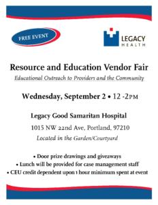 Legacy Good Samaritan Medical Center Resource Fair @ Legacy Good Samaritan Hospital