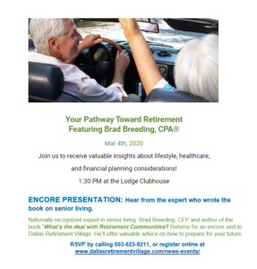 Your Pathway Toward Retirement Featuring Brad Breeding, CPA @ Dallas Retirement Village, Lodge Clubhouse