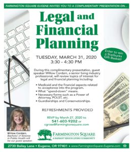CANCELLED - Legal and Financial Planning @ Farmington Square Eugene