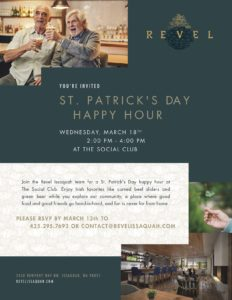 CANCELLED - St. Patrick's Day Happy Hour @ Revel Issaquah, Social Club
