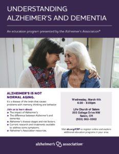 Understanding Alzheimer's and Dementia @ Life Church of Salem