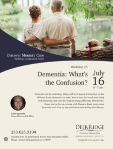 Dementia: What's the confusion? @ Puyallup Activity Center or Zoom Video