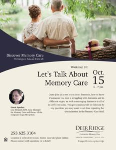 Lets Talk about Memory Care @ Puyallup Activity Center