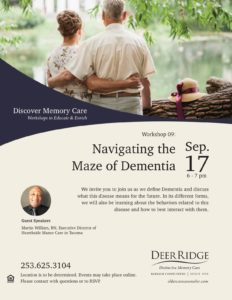 Navigating the Maze of Dementia @ Puyallup Activity Center or Zoom Video
