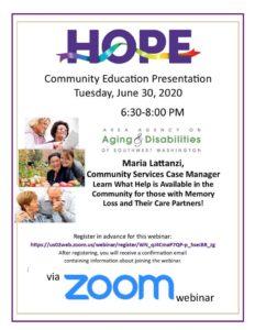 HOPE Community Education Presentation - Area Agency on Aging & Disabilities of Southwest Washington @ online event