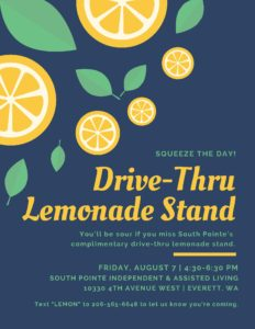 Squeeze The Day: Drive-Thru Lemonade Stand @ South Pointe Independent & Assisted Living