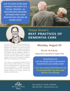 Teepa Snow's Best Practices for Dementia Care - Virtual training @ Virtual