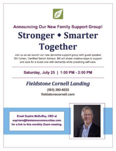 Stronger - Smarter - Together Dementia Support Group on Zoom @ Fieldstone Cornell Landing